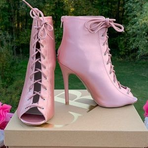 NEW! CHARLOTTE RUSSE LACE UP BOOT HEELS